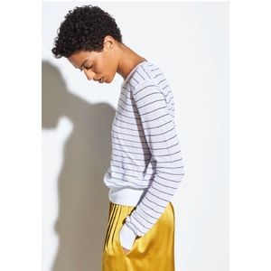 VINCE Striped Textured Long Sleeve in Optic White